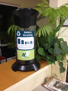 Battery recycling tube with flyer