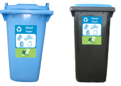 paper recycling wheelie bins