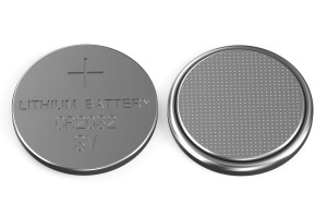 battery buttons top and bottom views isolated on white background